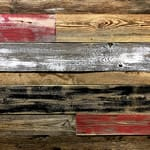 red barn wood, white barnwood, red claddings, painted barnwood