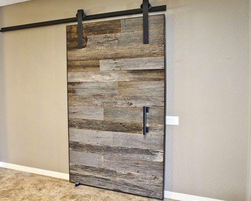 Reclaimed wood door interior and exterior grey reclaimed for Recycled interior doors